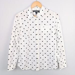 Tommy Hilfiger Womens Polka Dot Button Down Top
